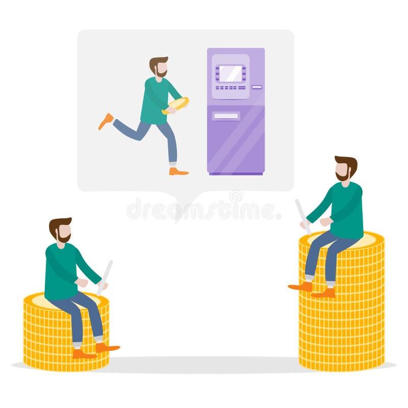 Mężczyzna niesie gotówkę przy ATM osobiste finansowy royalty ilustracja