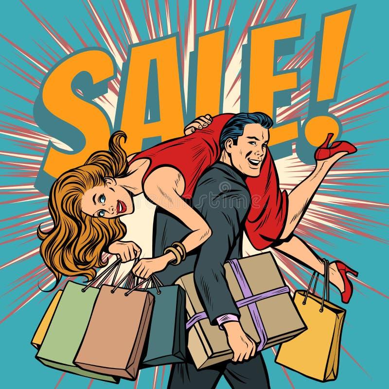 Mężczyzna niesie kobiety w jego rękach, sprzedaż ilustracja wektor