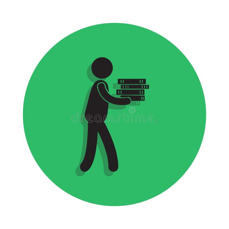 mężczyzna niesie książki ilustrację Element biblioteczna ikona dla mobilnych pojęcia i sieci apps Szczegółowy mężczyzna niesie ks ilustracji