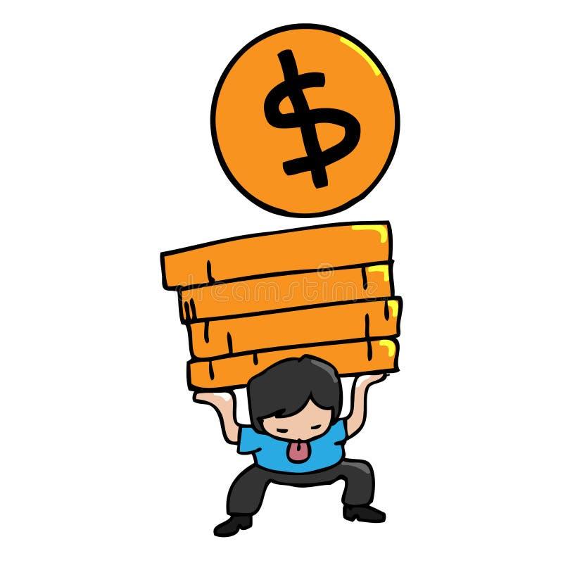 Mężczyzna niesie monety royalty ilustracja