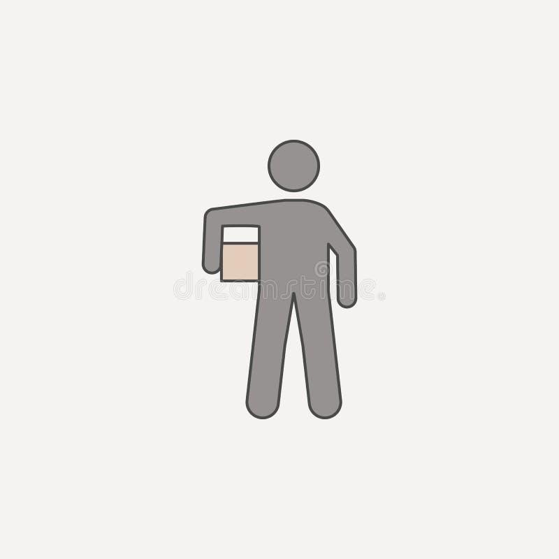 mężczyzna niesie pudełka 2 barwiącą kreskową ikonę Prosta barwiona element ilustracja mężczyzna niesie pudełkowatego konturu symb royalty ilustracja