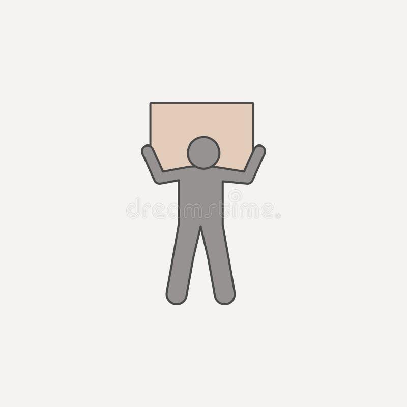 mężczyzna niesie pudełko na ramion 2 barwiącej kreskowej ikonie Prosta barwiona element ilustracja mężczyzna niesie pudełko na ra ilustracja wektor