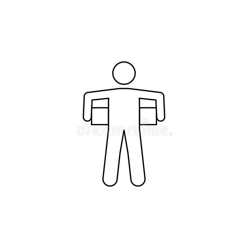 mężczyzna niesie pudełko za on ikona Element mężczyzna niesie pudełkowatą ilustrację Premii ilości graficznego projekta ikona Zna ilustracji