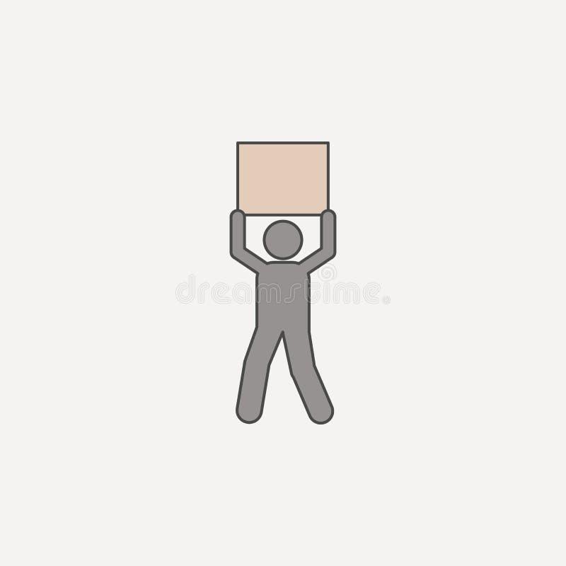 mężczyzna niesie pudełkowaci 2 koszt stały barwiącą kreskową ikonę Prosta barwiona element ilustracja mężczyzna niesie pudełkowat ilustracji
