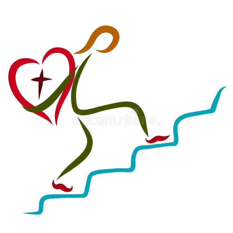 Mężczyzna niesie serce z krzyżem w górę schodków ilustracji