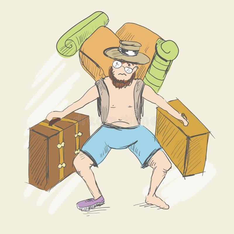 Mężczyzna niesie walizki i plecaka ilustracji