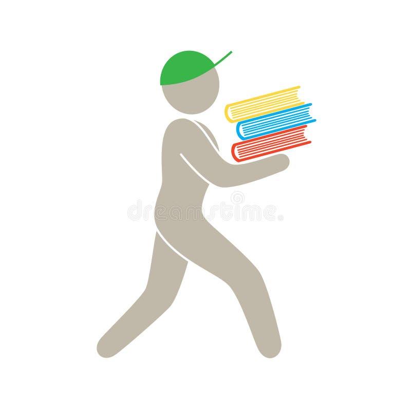 Mężczyzna niesie wiązkę książka ilustracja wektor
