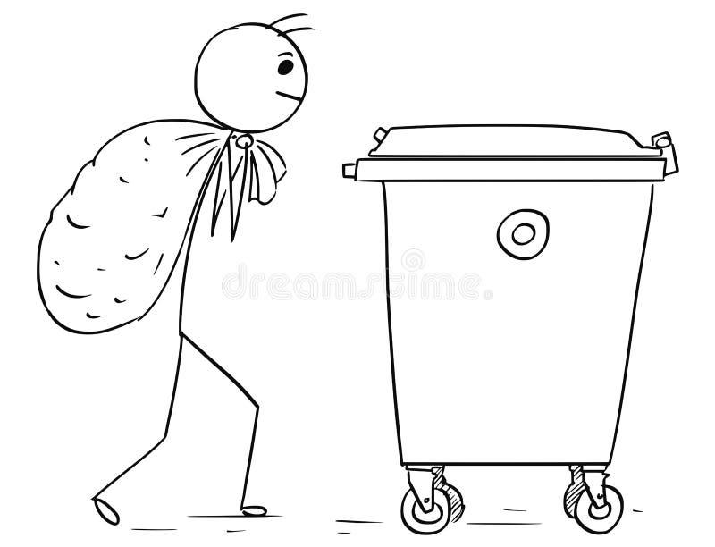 Mężczyzna Niesie Wielką torbę odpady Rzucać je w Jałowego zbiornika usypie royalty ilustracja