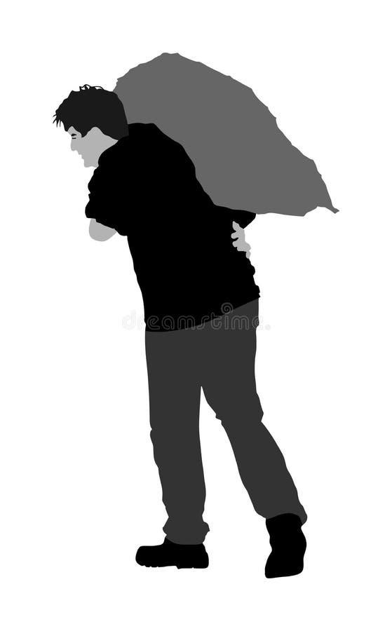 Mężczyzna niesie worek na naramiennej ilustraci Toiler pracownik Pracownik budowlany z torbą na plecy ilustracja wektor