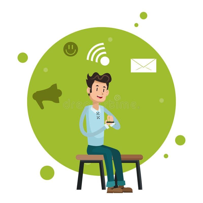 Mężczyzna obsiadania krzesła smartphone sieci socjalny środki ilustracji