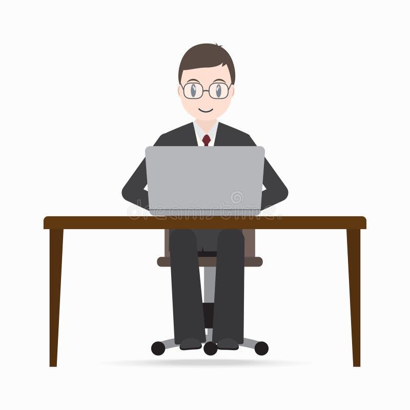Mężczyzna obsiadania przód komputer na praca stołu ikonie ilustracji
