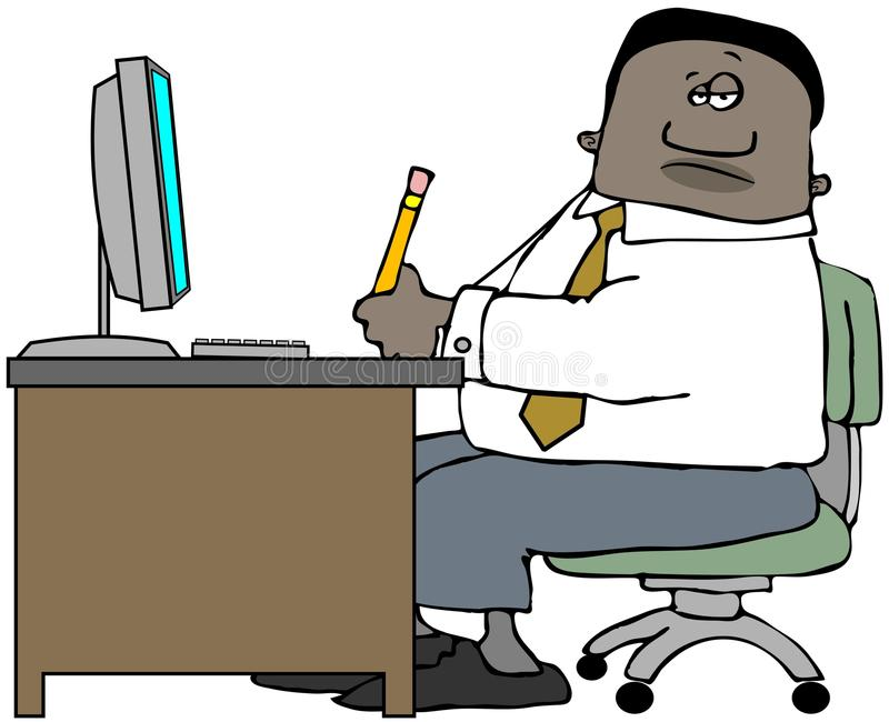 Mężczyzna obsiadanie przy biurowym biurkiem royalty ilustracja