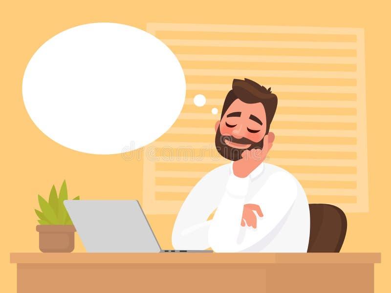 Mężczyzna obsiadanie przy jego biurkiem marzy o coś ilustracja wektor