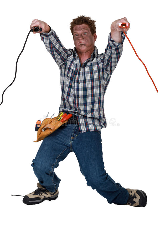 Mężczyzna odbiorczy porażenie prądem zdjęcia stock