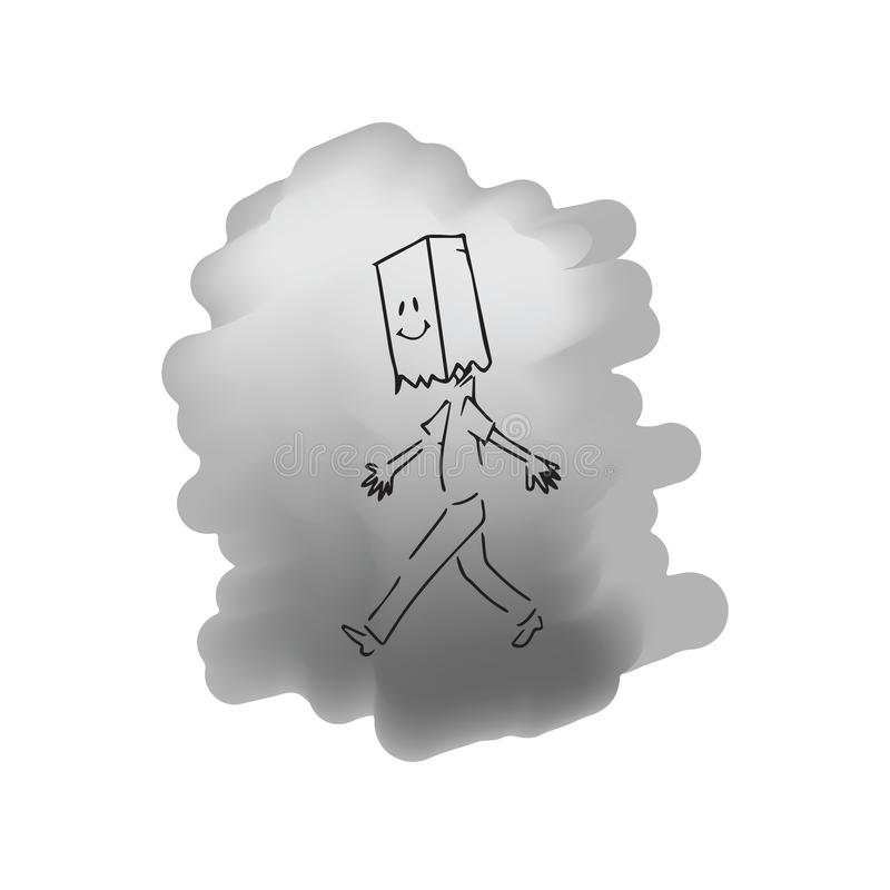 Mężczyzna odprowadzenie z uśmiech torby maską ilustracja wektor
