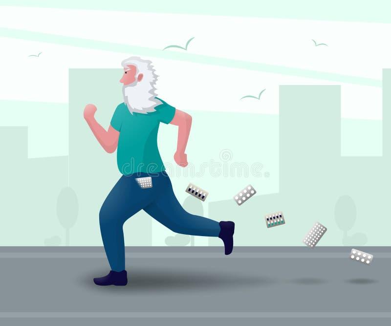 Mężczyzna odzyskuje robić sporta bieg No potrzebuje medycyn ilustracja wektor