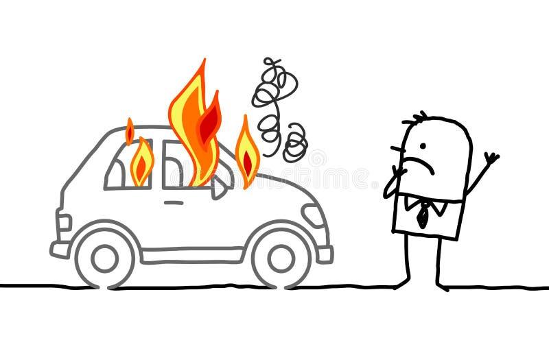 Mężczyzna ogląda płonącego samochód ilustracja wektor