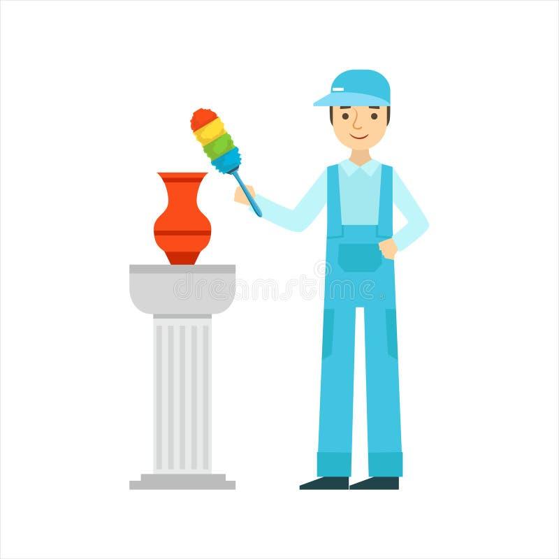 Mężczyzna okurzania Antykwarska waza Z pyłu muśnięciem, Cleaning Usługowy Fachowy Cleaner W Jednolitym Cleaning W gospodarstwie d ilustracja wektor
