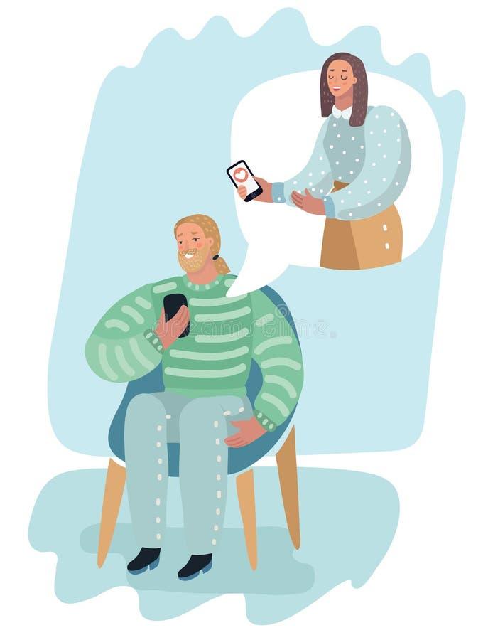 Mężczyzna online i kobieta z smartphone royalty ilustracja