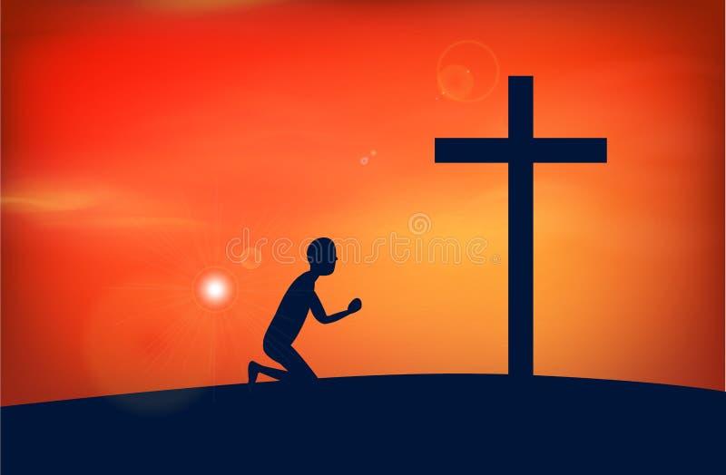 Mężczyzna ono modli się bóg, Jesus, ilustracja wektor