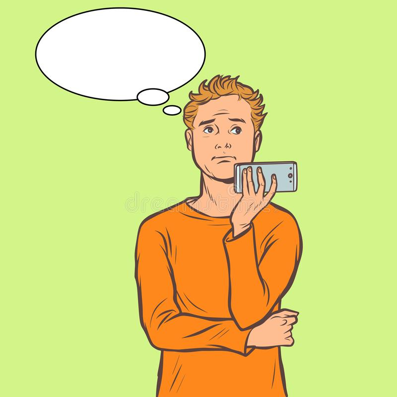 Mężczyzna opowiada na smartphone ilustracji