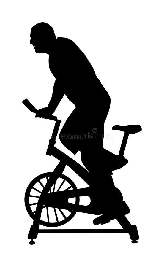 Mężczyzna opracowywa na ćwiczenie roweru sylwetki ilustracji Jechać na rowerze w gym cardio szkoleniu Salowi kolarstwo rowery wor ilustracja wektor