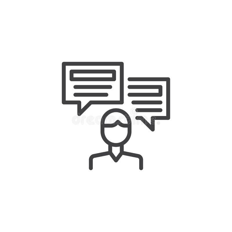 Mężczyzna osoba z mowa bąbli konturu ikoną ilustracja wektor