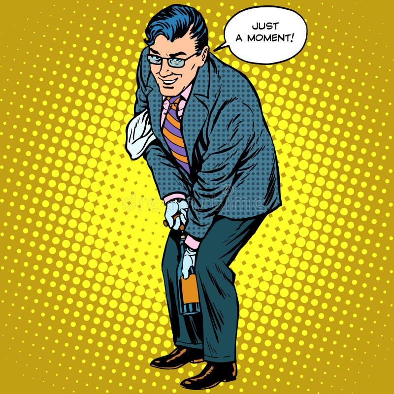 Mężczyzna otwiera butelkę szampański wakacje ilustracja wektor