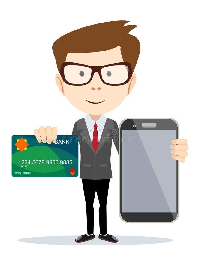 Mężczyzna płaci z kredytową kartą na telefonie royalty ilustracja