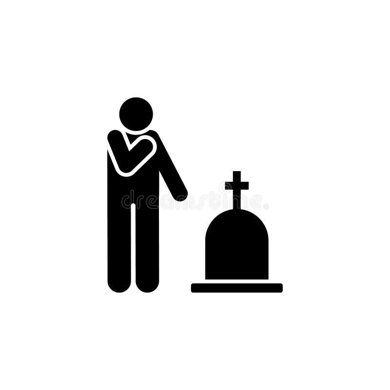 Mężczyzna płacze żałobną żal ikonę Element piktogram śmierci ilustracja royalty ilustracja