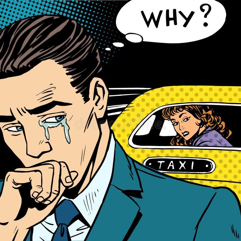 Download Mężczyzna Płacze Jego Kobiety Opuszcza Taxi Ilustracji - Ilustracja złożonej z taxi, rozdzielenie: 57652089
