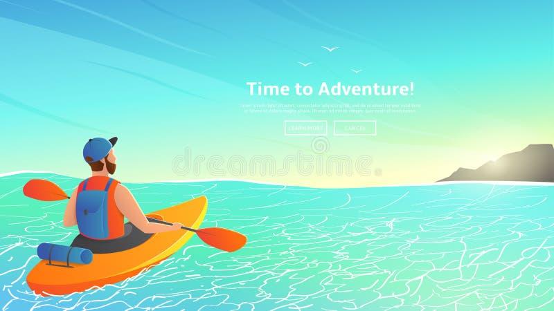 Mężczyzna paddling kajaka w morzu ilustracja wektor