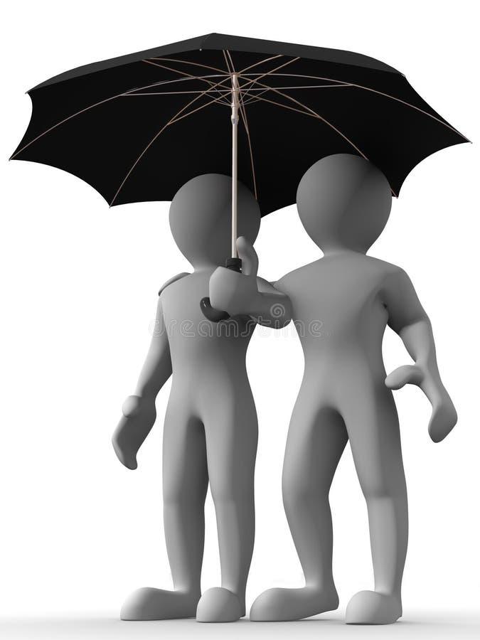 mężczyzna parasol ilustracja wektor