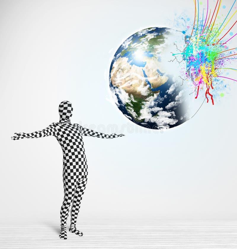 mężczyzna patrzeje kolorową splatter 3d ziemię w ciało kostiumu, elementy ten wizerunek ilustracja wektor