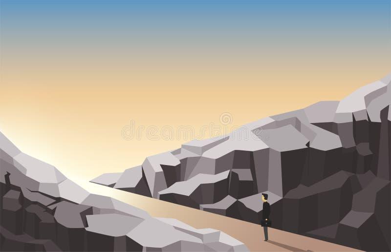 Mężczyzna patrzeje naprzód stojącym między skałami interes dorosłych biznesmena motywacji dojrzały działania ilustracji