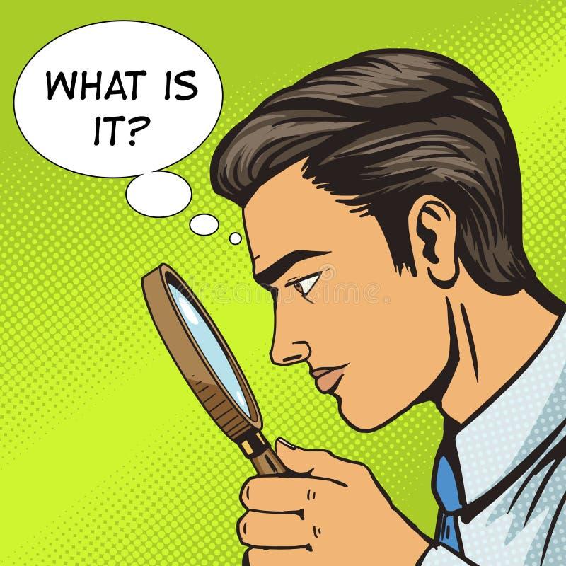 Mężczyzna patrzeje przez magnifier wystrzału sztuki wektoru royalty ilustracja