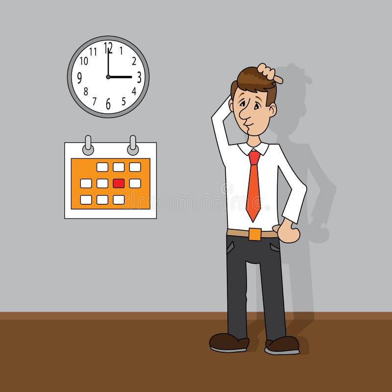 Mężczyzna patrzeje zegar i kalendarz ilustracja wektor