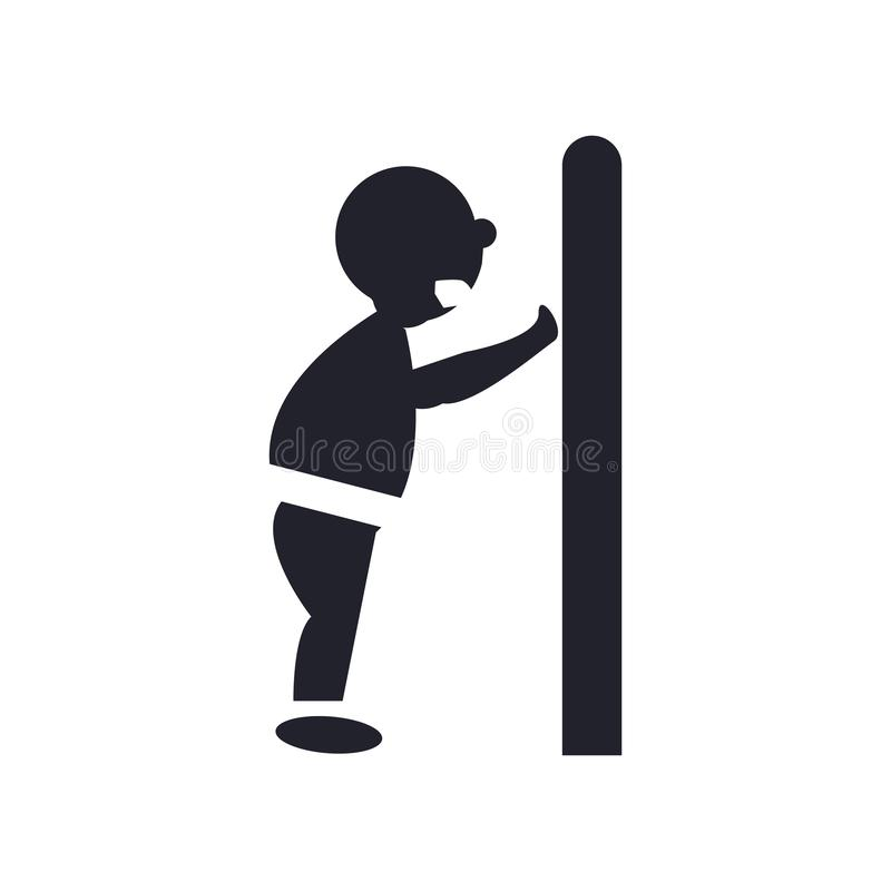Mężczyzna pcha drzwi z jego ciało ikony wektoru symbolu i znaka iso ilustracji