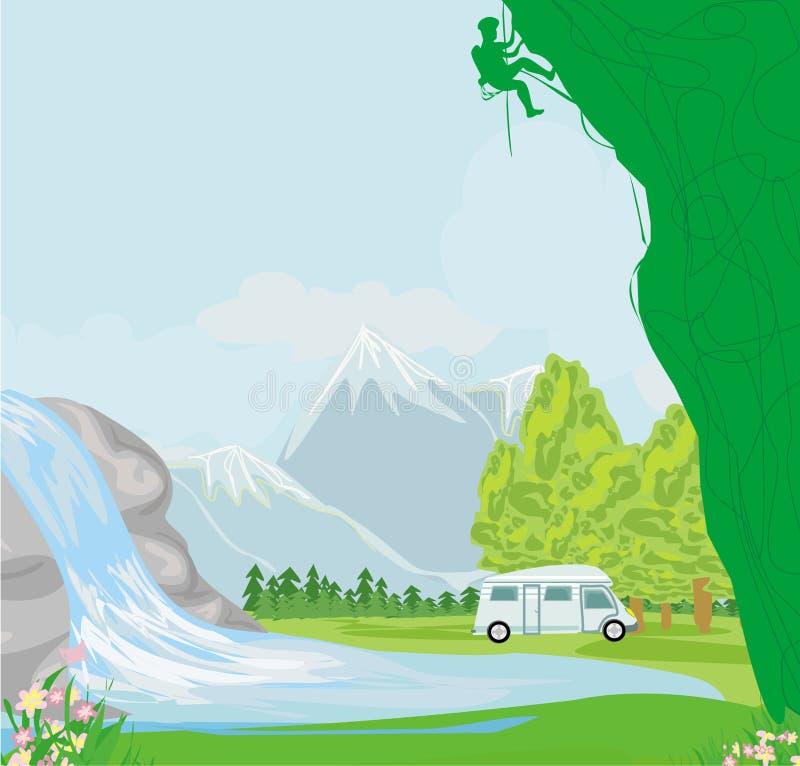Mężczyzna pięcie na wapień ścianie z szeroką doliną ilustracja wektor