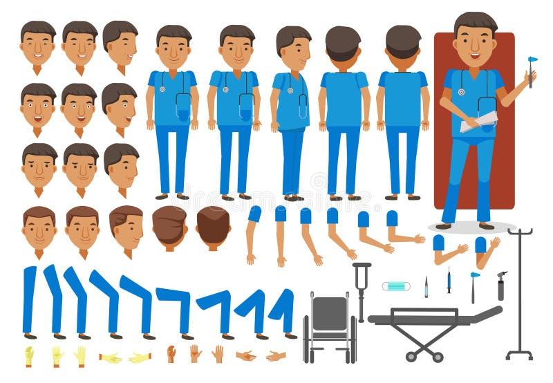 Mężczyzna pielęgniarka ilustracji