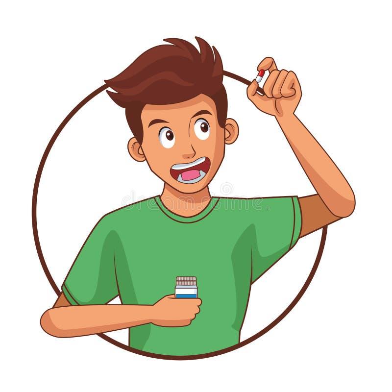 mężczyzna pigułki zabranie royalty ilustracja