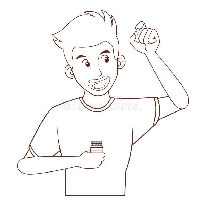 mężczyzna pigułki zabranie ilustracja wektor