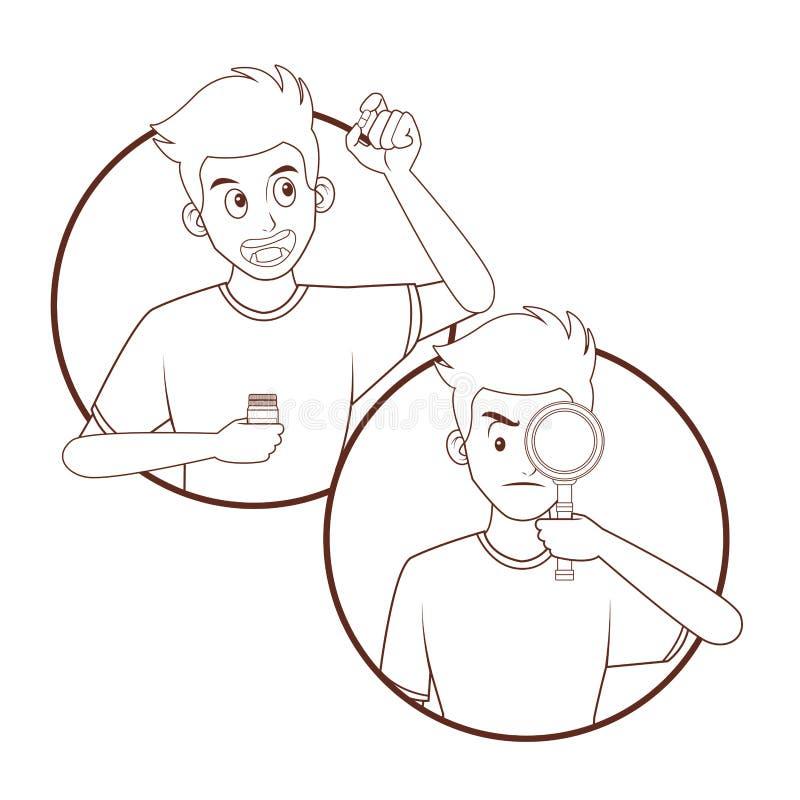 mężczyzna pigułki zabranie ilustracji