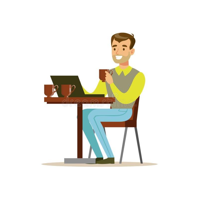 Mężczyzna Pije Jego Trzeci filiżankę kawy W sklep z kawą Podczas gdy Wideo gawędzenie Na Jego podołka wierzchołka wektoru ilustra royalty ilustracja