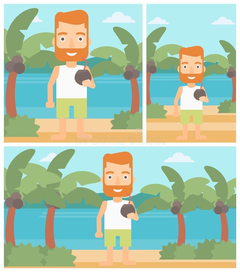 Mężczyzna pije kokosowego koktajl na plaży ilustracja wektor
