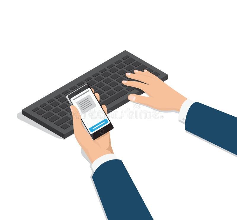 Mężczyzna Pisać na maszynie na komputerze z telefonem w ręka wektorze ilustracji