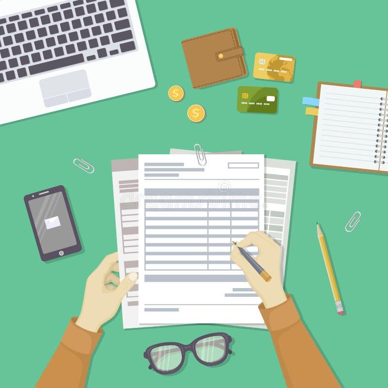 Mężczyzna plombowania dokumenty Mężczyzna ` s ręki trzymają konta, lista płac, podatek forma royalty ilustracja