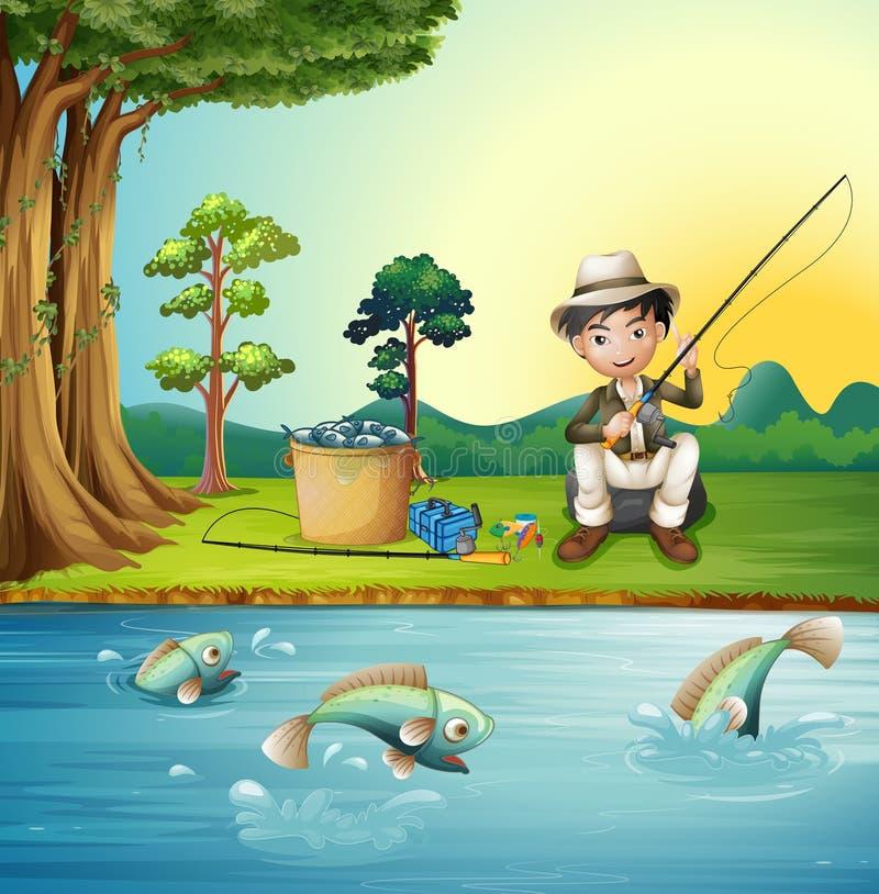 Mężczyzna połów rzeką ilustracja wektor