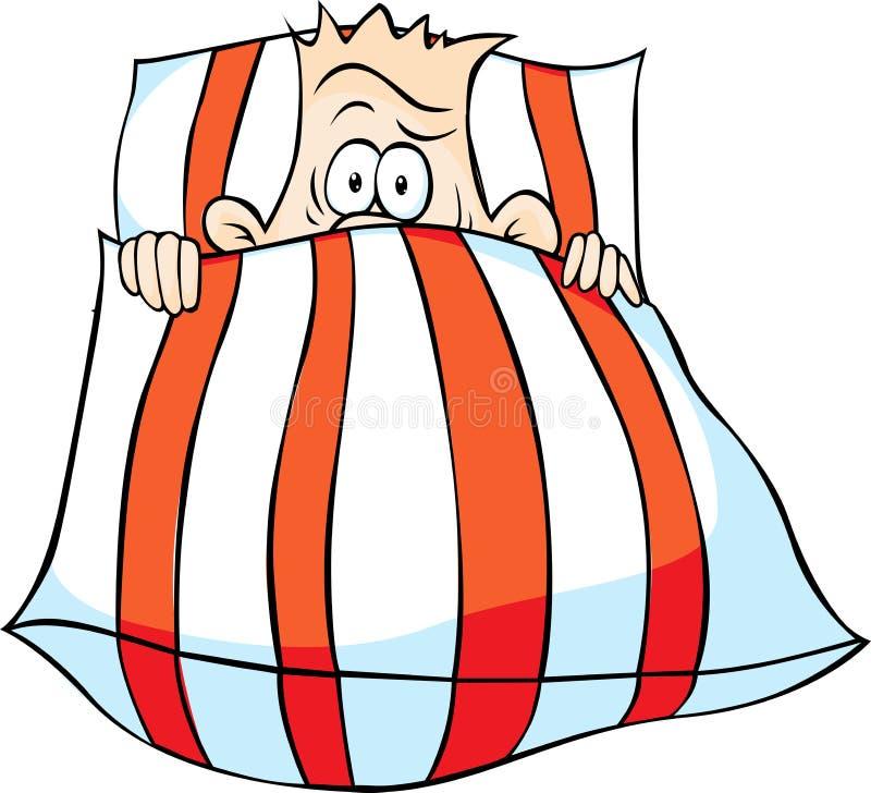 Mężczyzna pod piórkowym łóżkiem - śmieszny wektor ilustracji