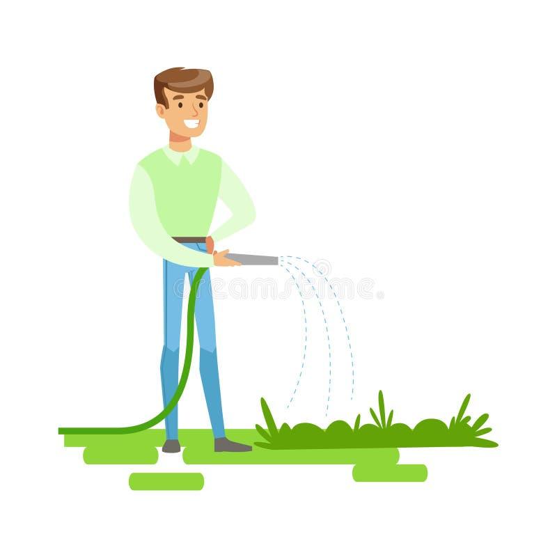 Mężczyzna podlewania rośliny Z wężem elastycznym, Przyczynia się W środowisko konserwację Używać życzliwych sposoby Ilustracyjnyc royalty ilustracja